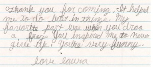 Letter by Laura at Liberty Christian