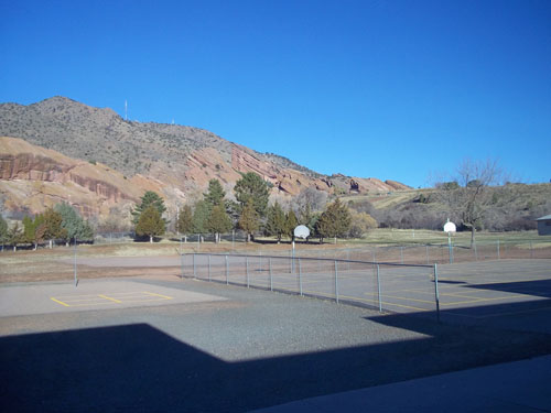 View from the Red Rocks Elementary library window.